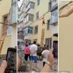 Lady Jumps From Window When Lover's Wife Came Home In China, Hangs On Power Line