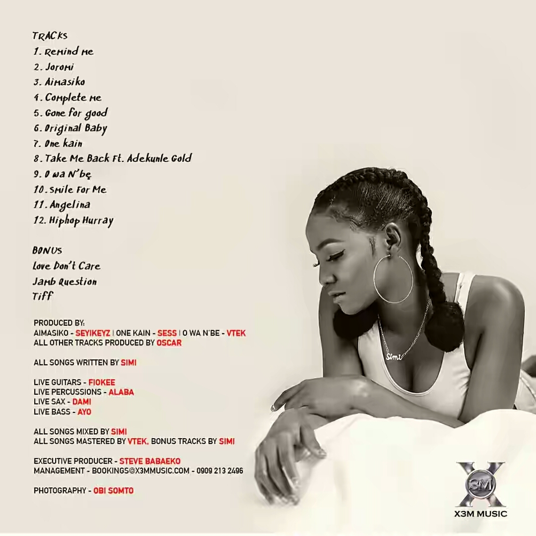 "[GIST] Simi Out With ""Simisola"", Her Sophomore Album, 3 Years After Joining X3M Music"