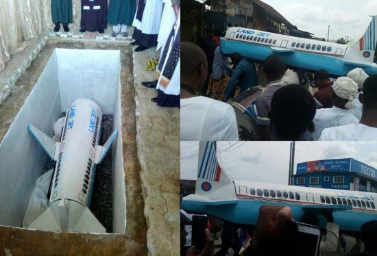 Surprised! Man buried in a coffin that looks like Airplane in Calabar , See Photos