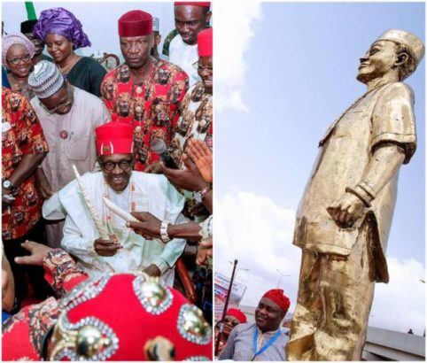 President Buhari gets a statue, conferred two chieftaincy titles in Ebonyi, See Photos
