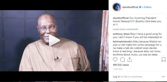 Davido Reacts to Atiku's Statement About Him