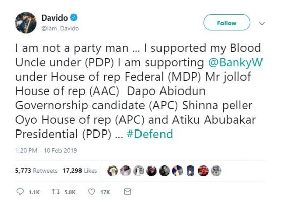 Davido Declares His Stand on Coming Elections