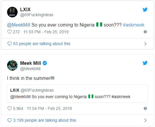 Meek Mill Says He is Visiting Nigeria Soon