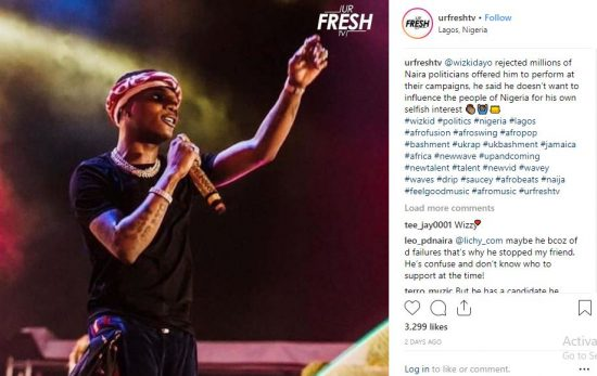 Wizkid Allegedly Rejected Millions To Perform at Campaigns