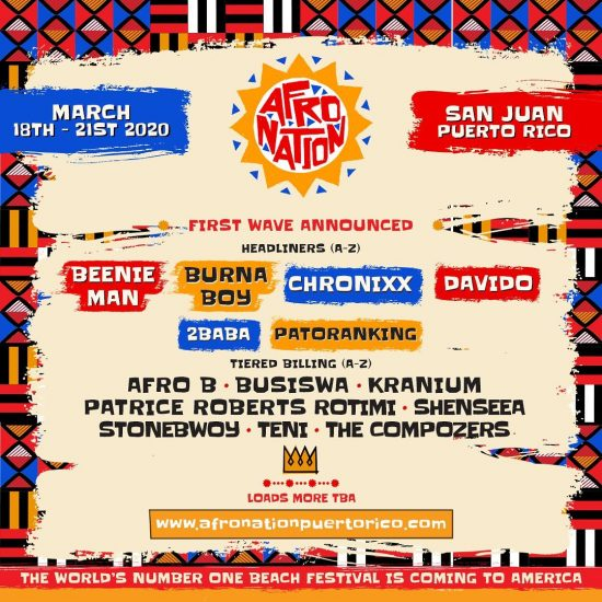 Burna Boy, Davido ,Others To Headline Afro Nation, Puerto Rico