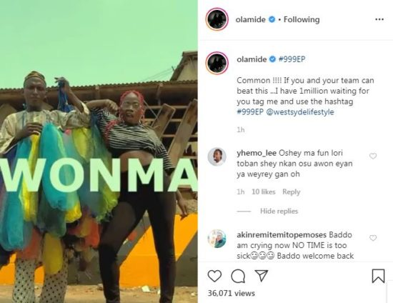 #999EP: Olamide to Gift 1M Naira for Wonma Dance Challenge