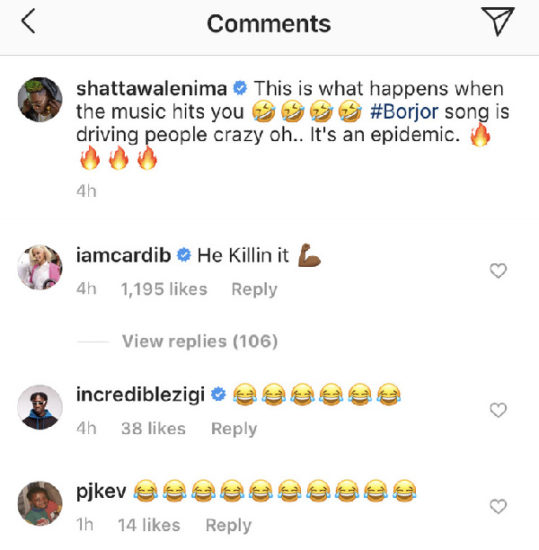 Cardi B's reply to Shatta Wale