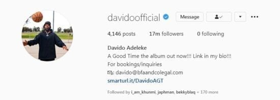Davido UnFollows Chioma and Others on Instagram