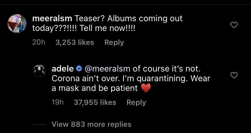 Fan's comment and Adele​'s response