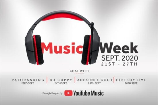 YouTube Music Week: Patoranking, DJ Cuppy, Fireboy, AG Baby to hangout with fans.