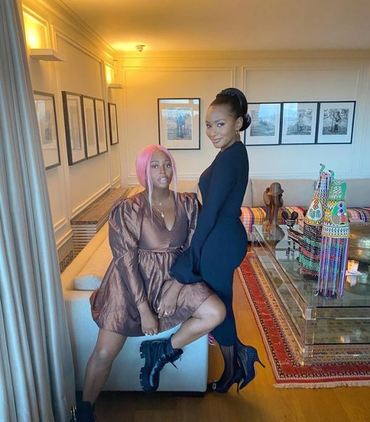 DJ Cuppy watches Monaco Grand Prix from her family home balcony