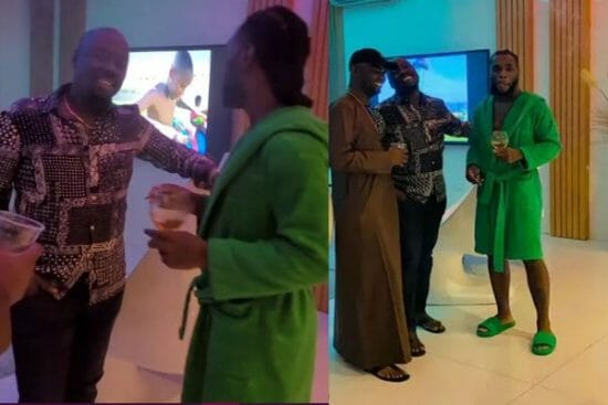 Obi Cubana and Jowizaza pay a visit to Burna Boy in his mansion