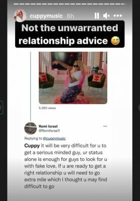 Cuppy Responds To Relationship Advice From A noisy Fan